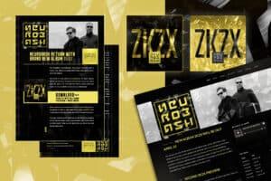 Olika trycksaker och hemsida samlade mot en grafisk bakgrund. Färgskalan går från skarpt gult till svart och grått.