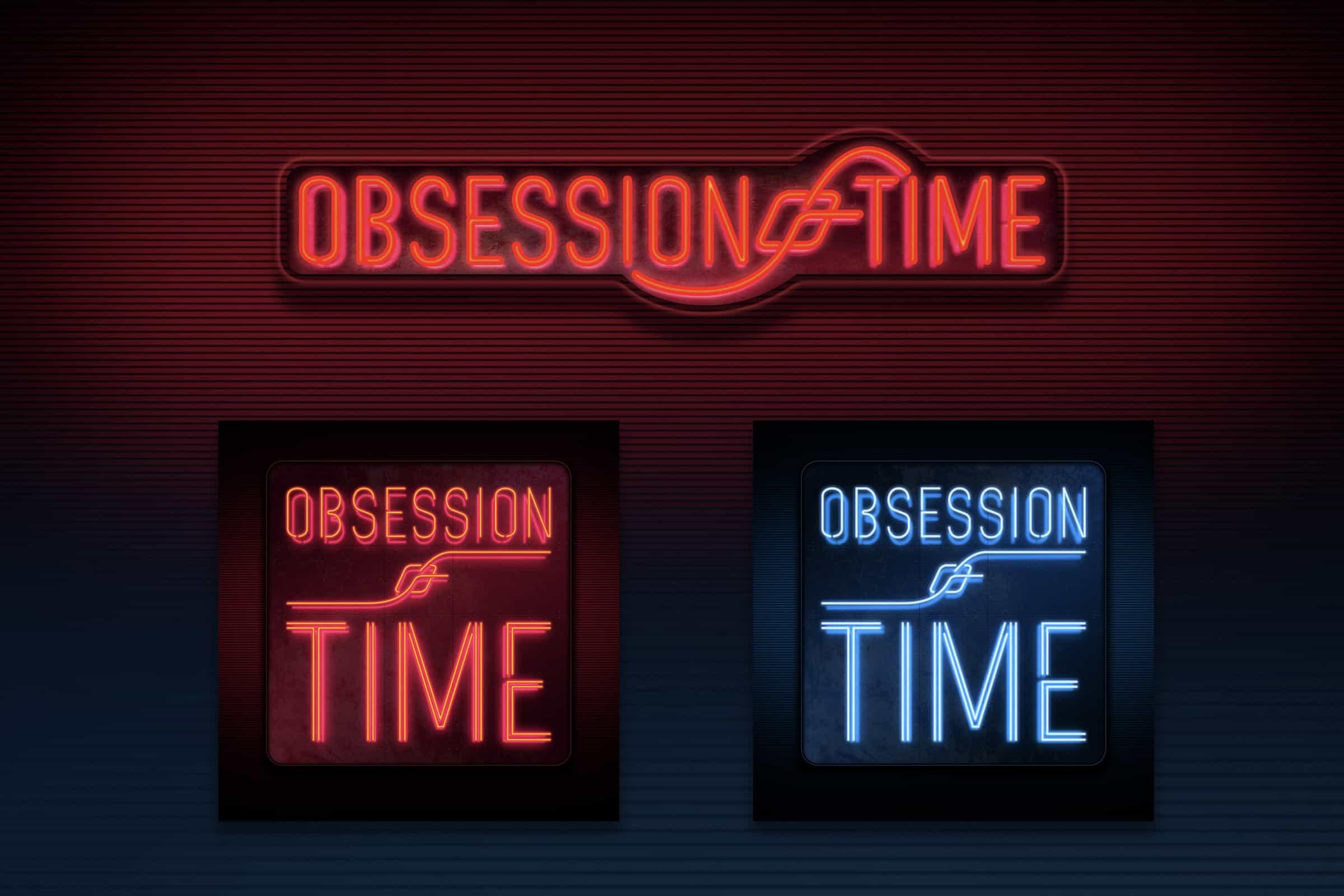 Sammanställd bild av två olika utförande av logotyper till ett elektroniskt band som heter Obsession of Time. Logotyperna är utförda som klassiska neonskyltar och lyser i rött och blått i respektive utförande.