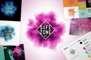 Logotyp och grafisk profil för ungdomssatsningen Safe Zone UF