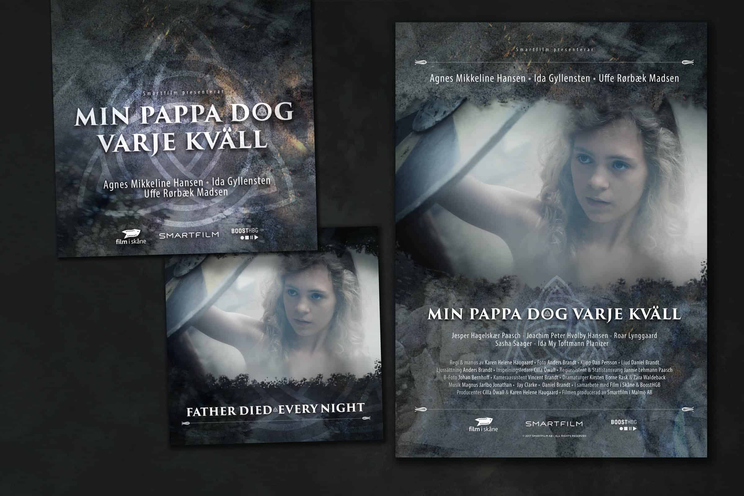 Posterdesign och bilder för marknadsföring i sociala medier till filmen Min Pappa Dog Varje Kväll signerad Karen-Helene Haugaard.