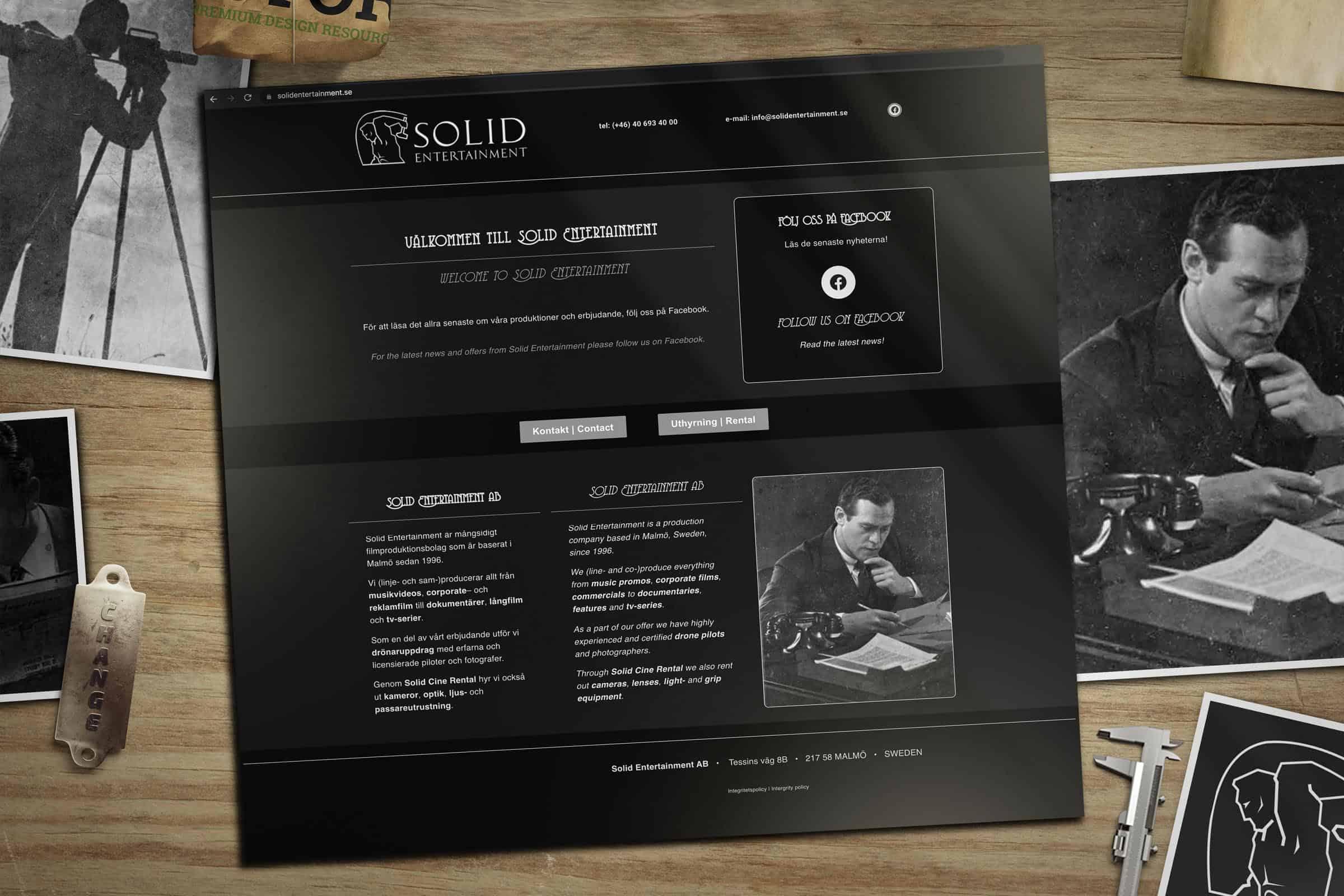 Förevisning av hemsida skapad åt Solid Entertainment i Malmö.